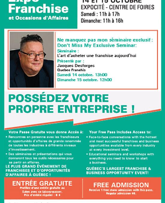 Séminaire à Québec sur l'Art d'Acheter une Franchise