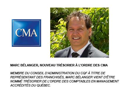 Marc Bélanger de la fanchise Sushi Shop et au parcours impressionnant, devient trésorier de l'Ordre des comptables en management accrédités du Québec
